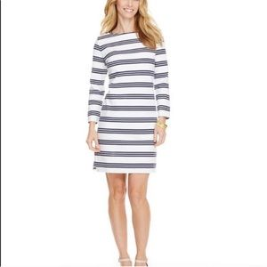 Preppy 🐳 navy blue white striped cotton dress S